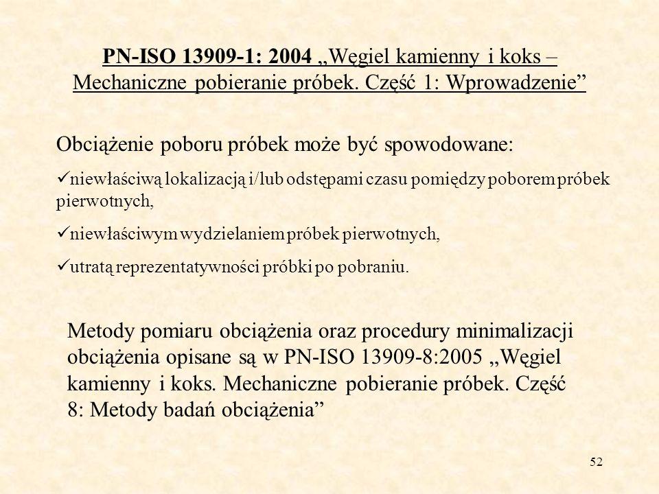 53 PN-ISO 13909-1: 2004 Węgiel kamienny i koks – Mechaniczne pobieranie próbek.