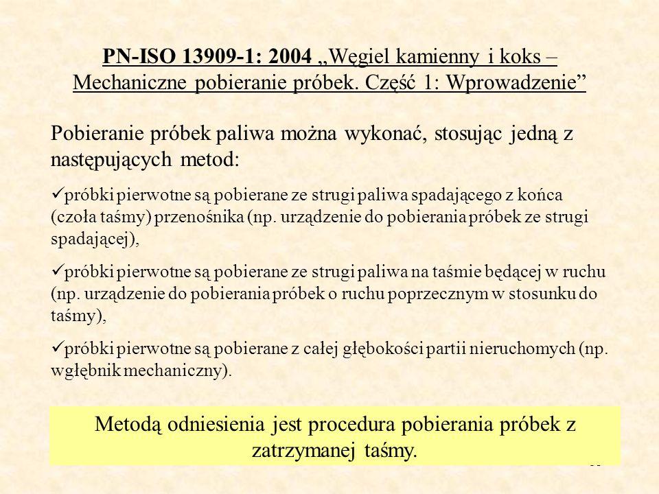 54 PN-ISO 13909-7: 2005 Węgiel kamienny i koks – Metody oznaczania precyzji pobierania, przygotowania i badania próbek 1.