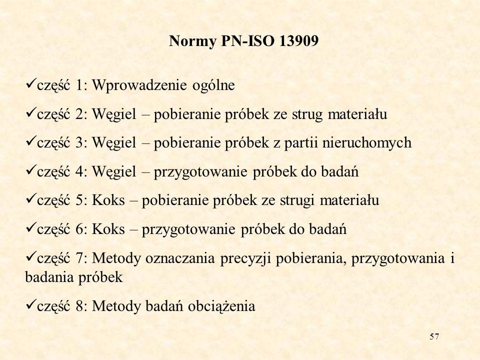 58 Normy PN-ISO 13909-2:2004 Procedura ustalania schematu pobierania próbek: określić, które parametry jakościowe będą oznaczane i jakie będą wymagane rodzaje próbek, określić partię, określić lub założyć wymaganą precyzję (4.4.1), określić sposób pobierania próbki (ciągły czy wybiórczy), określić metodę łączenia próbek pierwotnych i przygotowania próbki, określić lub założyć zmienność węgla (jeżeli dotyczy) i wariancję przygotowania i badania, ustalić liczbę podpartii i liczbę próbek pierwotnych przypadających na podpartię, aby uzyskać wymagana precyzję, ustalić nominalną górną wielkość ziarna w celu określenia minimalnej masy próbki, określić czy pobieranie będzie się odbywać na podstawie czasu czy masy