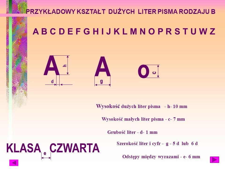 Wysokość dużych liter pisma - h- 10 mm Wysokość małych liter pisma - c- 7 mm Grubość liter - d- 1 mm Szerokość liter i cyfr - g - 5 d lub 6 d Odstępy między wyrazami - e- 6 mm PRZYKŁADOWY KSZTAŁT DUŻYCH LITER PISMA RODZAJU B A B C D E F G H I J K L M N O P R S T U W Z A h d A g KLASA CZWARTA e o c
