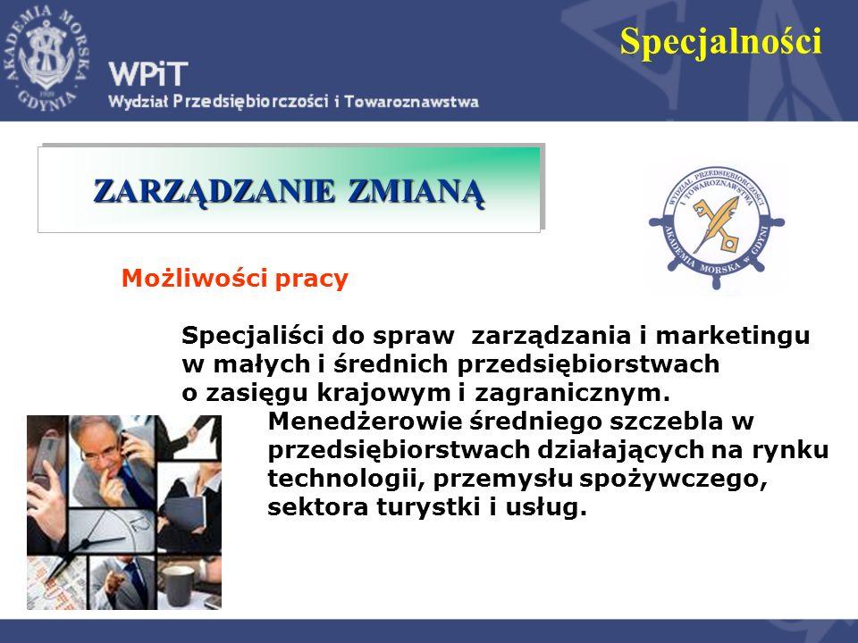 Specjalności Możliwości pracy Specjaliści i menedżerowie w przedsiębiorstwach prowadzących działalność na rynkach gospodarki elektronicznej, w organizacjach, których funkcjonowanie opiera się na wykorzystaniu nowoczesnych rozwiązań teleinformatycznych, NOWOCZESNE NARZĘDZIA ZARZĄDZANIA