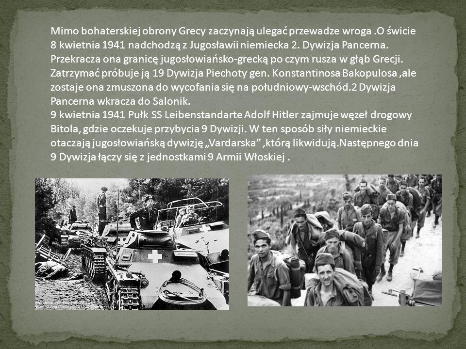 Na wschodzie kraju,otoczenie przez nieprzyjaciele obrońcy linii Mataxasa otrzymują od naczelnego dowódcy armii greckiej gen.