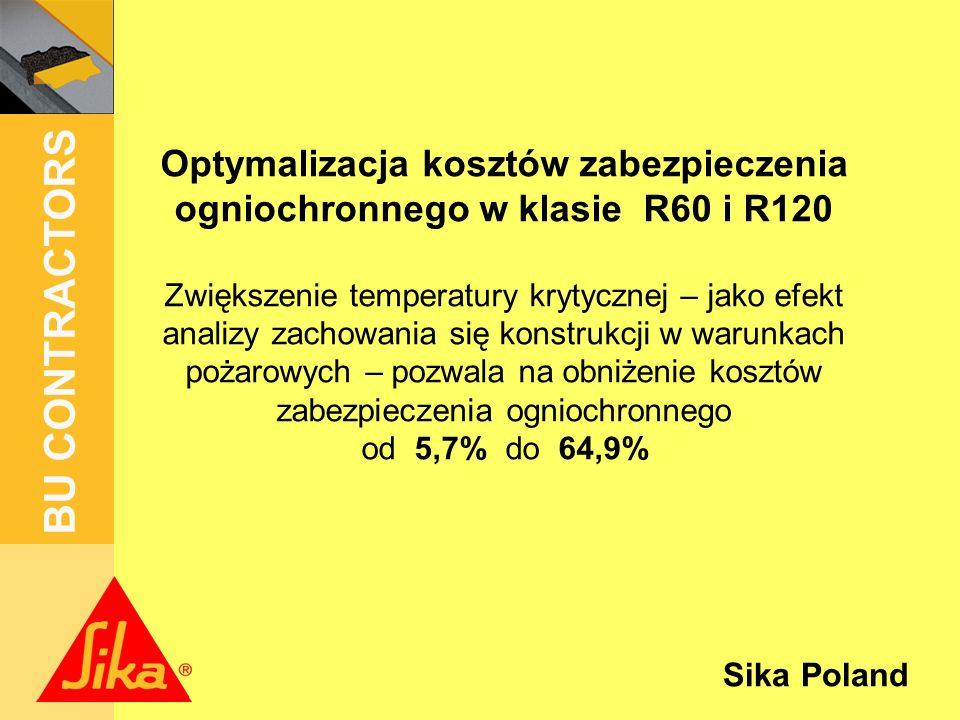 Sika Poland BU CONTRACTORS 2,62 PLN/m 2 0,05 PLN/kg PLN/m 2 3,66 PLN/kg Dla IPE 600 i IPE 160 jako profili bazowych może nastąpić obniżenie kosztów zabezpieczenia ogniochronnego o: IPE 600 2,62 PLN/m 2 0,05 PLN/kg IPE 160 89,6 PLN/m 2 3,66 PLN/kg