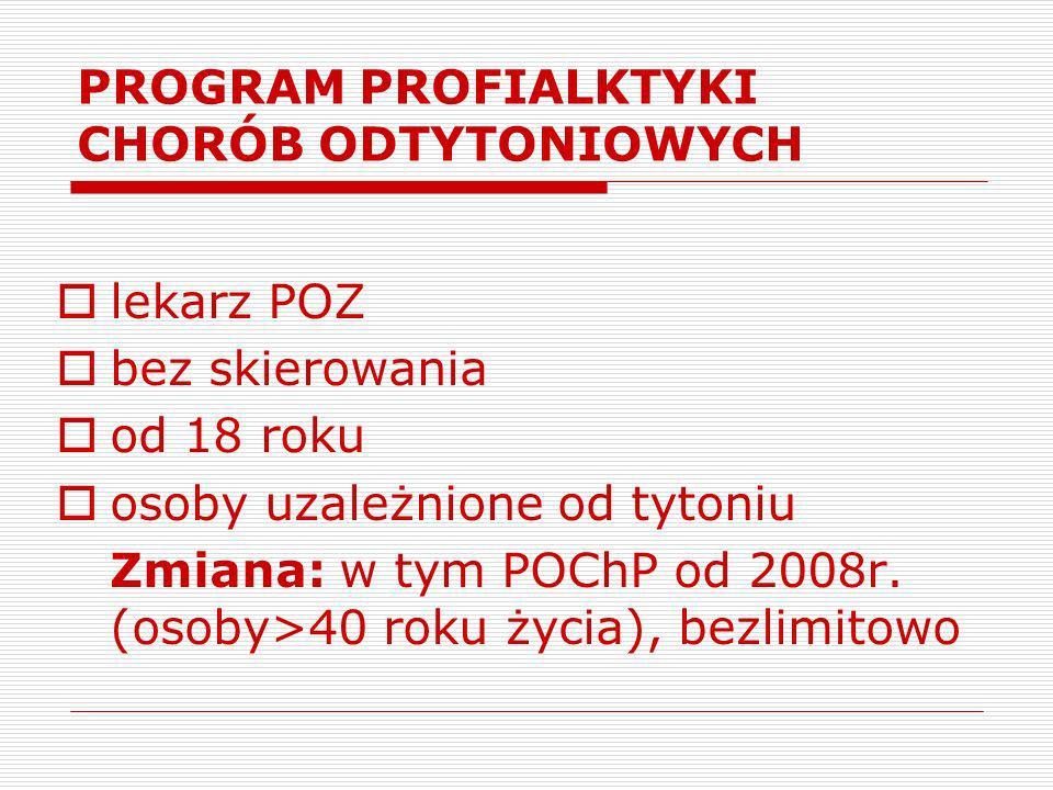 PROGRAM PROFILAKTYKI CHORÓB ODTYTONIOWYCH - ETAP PODSTAWOWY (w tym POChP - od 2008)