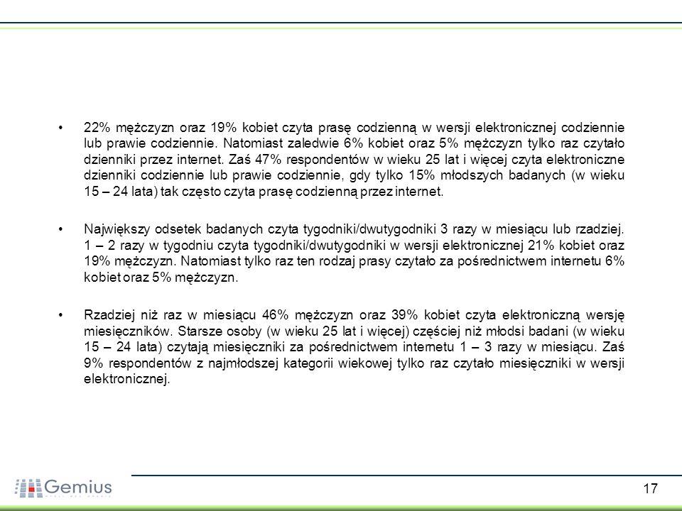 18 Korzystanie z tradycyjnych mediów przez internet - porównanie do wcześniejszych badań - Źródło: gemiusReport, listopad 2006