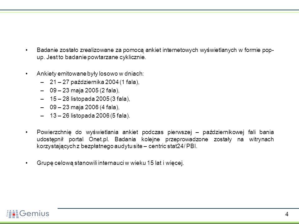 5 W ramach badania zebrano: –10 112 ankiet (październik 2004 – 1 fala), –17 133 ankiet (maj 2005 – 2 fala), –14 706 ankiet (listopad 2005 – 3 fala), –12 665 ankiet (maj 2006 – 4 fala) –16 050 ankiet (listopad 2006 – 5 fala).