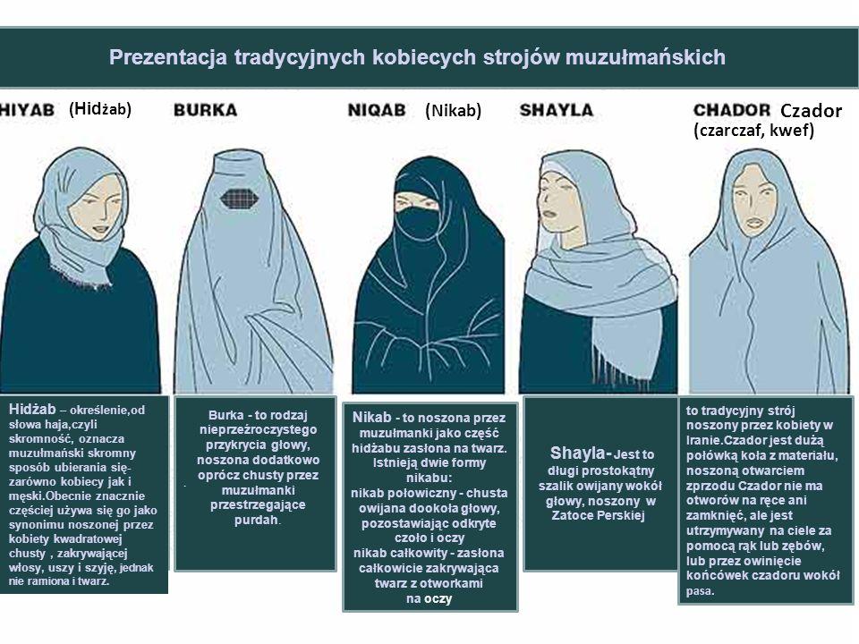 (Hid żab ) Hidżab – określenie,od słowa haja,czyli skromność, oznacza muzułmański skromny sposób ubierania się- zarówno kobiecy jak i męski.Obecnie znacznie częściej używa się go jako synonimu noszonej przez kobiety kwadratowej chusty, zakrywającej włosy, uszy i szyję, jednak nie ramiona i twarz..