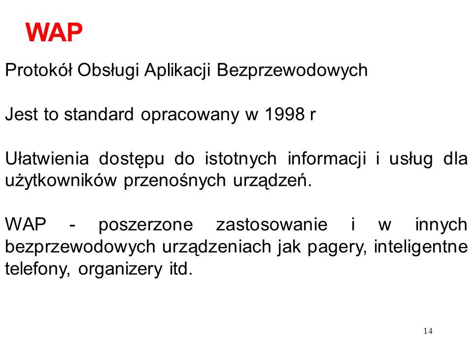 15 WAP to szereg wspólnych standardów określających sposób kodowania, szyfrowania i transmisji komunikatów.