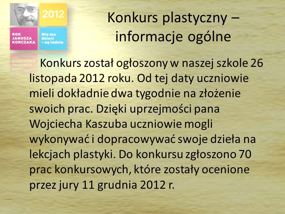 Konkurs plastyczny – informacje ogólne Konkurs został ogłoszony w naszej szkole 26 listopada 2012 roku.
