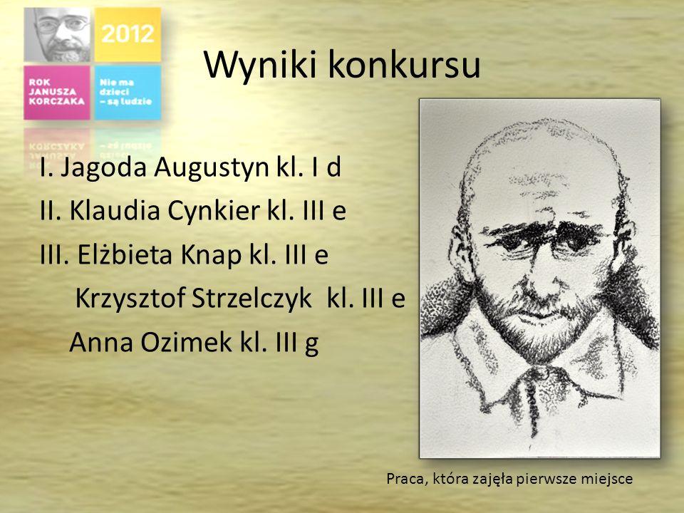 Wyniki konkursu I.Jagoda Augustyn kl. I d II. Klaudia Cynkier kl.