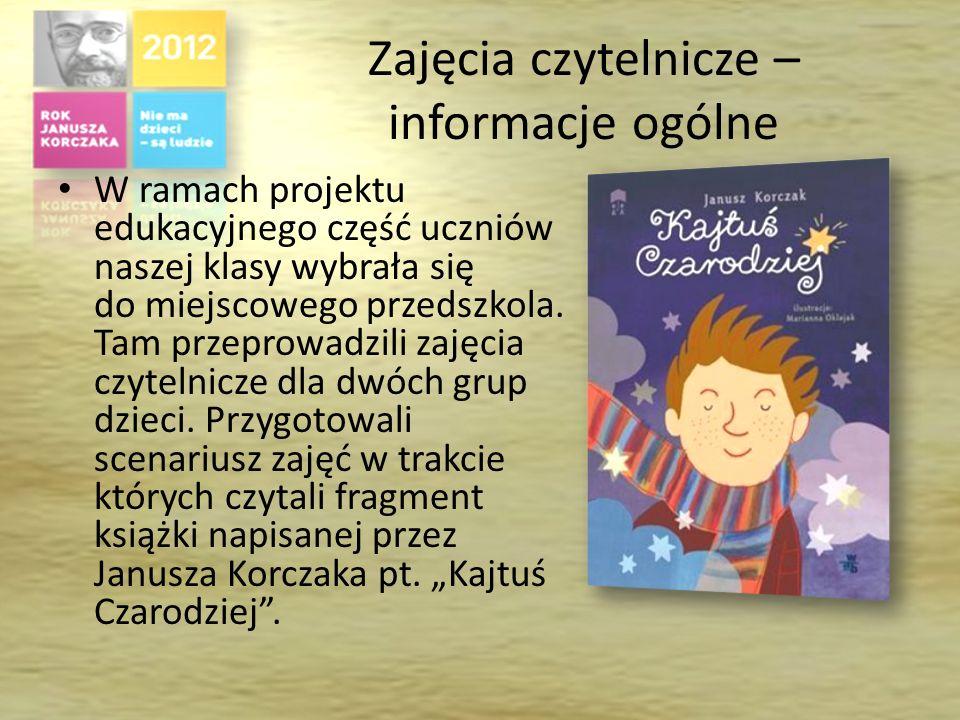 Zajęcia czytelnicze – informacje ogólne W ramach projektu edukacyjnego część uczniów naszej klasy wybrała się do miejscowego przedszkola.