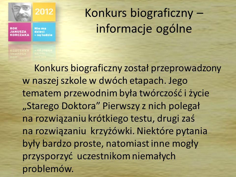 Konkurs biograficzny – informacje ogólne Konkurs biograficzny został przeprowadzony w naszej szkole w dwóch etapach.