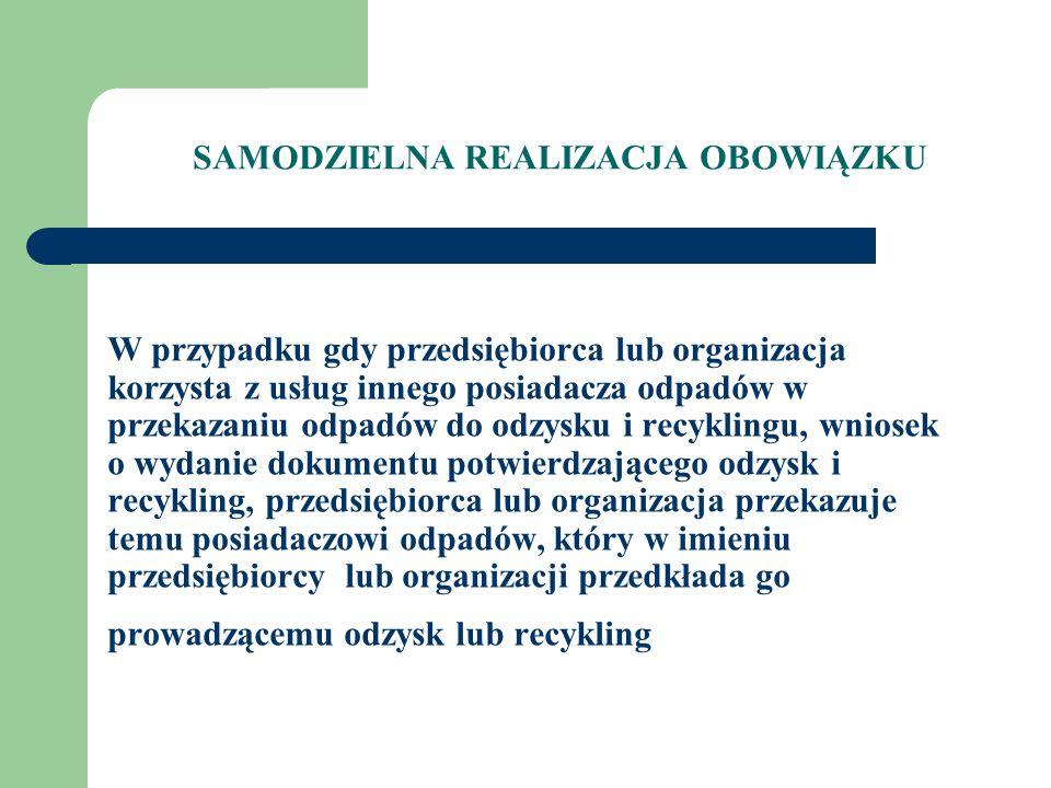 Wzór dokumentu potwierdzającego odzysk i recykling Dokument potwierdzający odzysk i recykling - Egzemplarz A DOKUMENT POTWIERDZAJĄCY ODZYSK LUB RECYKLING Egzemplarz A przeznaczony dla przekazującego odpad do odzysku / recyklingu (wykonującego obowiązek) Nr dokumentuZezwolenie na odzysk (recykling) Przedsiębiorca (organizacja odzysku) przekazujący odpadPrzyjmujący odpad do odzysku/recyklingu Adres Telefon/fax Nr REGON Kod odpaduRodzaj odpaduJednostka Masa lub ilość przyjętych odpadów opakowaniowych lub poużytkowych data, pieczęć i podpis Potwierdzam przyjęcie odpadu zobowiązując się jednocześnie do jego odzysku /recyklingu w rozumieniu przepisów ustawy i oświadczam, że nie zostanie on przekazany dalej do innego odbiorcy data, pieczęć i podpis