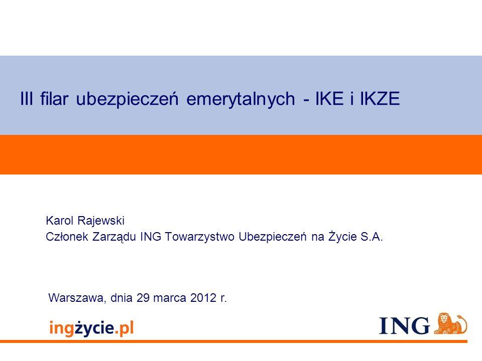 Pole zarezerwowane dla paska brandingowego Orange RGB= 255,102,000 Light blue RGB= 180,195,225 Dark blue RGB= 000,000,102 Grey RGB= 150,150,150 ING opis kolorów Agenda Geneza wprowadzenia IKE i IKZE IKE i IKZE w różnych instytucjach finansowych Co to jest IKE i IKZE.