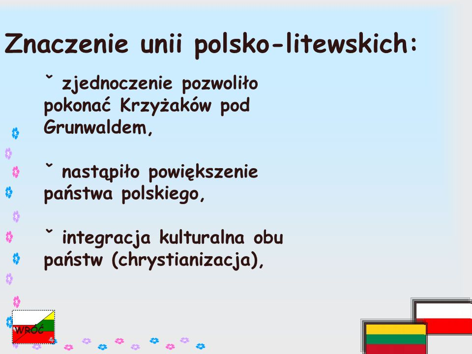 PODSUMOWANIE Po śmierci Kazimierza Jagiellończyka Litwini zawarli unię personalną i powołali na tron Aleksandra.
