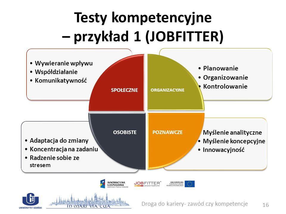 Testy kompetencyjne – przykład 1 (JOBFITTER) Droga do kariery- zawód czy kompetencje 17 Test Kompetencji Menedżerskich pozwala na ocenę praktycznej wiedzy niezbędnej do dobrego kierowania zespołem.