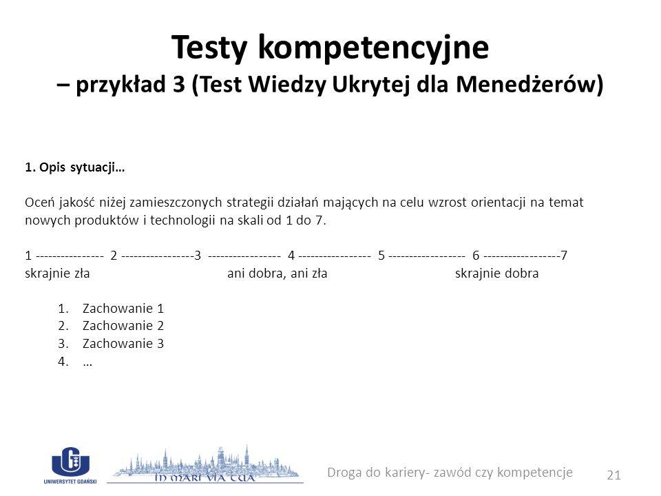 Nowe tendencje w badaniu kompetencji Ćwiczenia złożone poznawczo stosowane podczas sesji Assessment Center Gry komputerowe pozwalające na diagnozę kompetencji Droga do kariery- zawód czy kompetencje 22