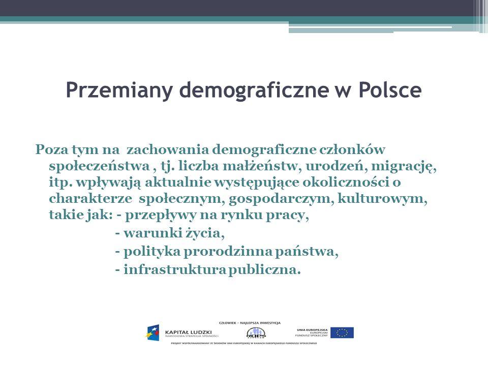 Przemiany demograficzne w Polsce – trendy ogólne Spadek liczby ludności W najbliższej przyszłości będzie przebiegał jeszcze szybciej.