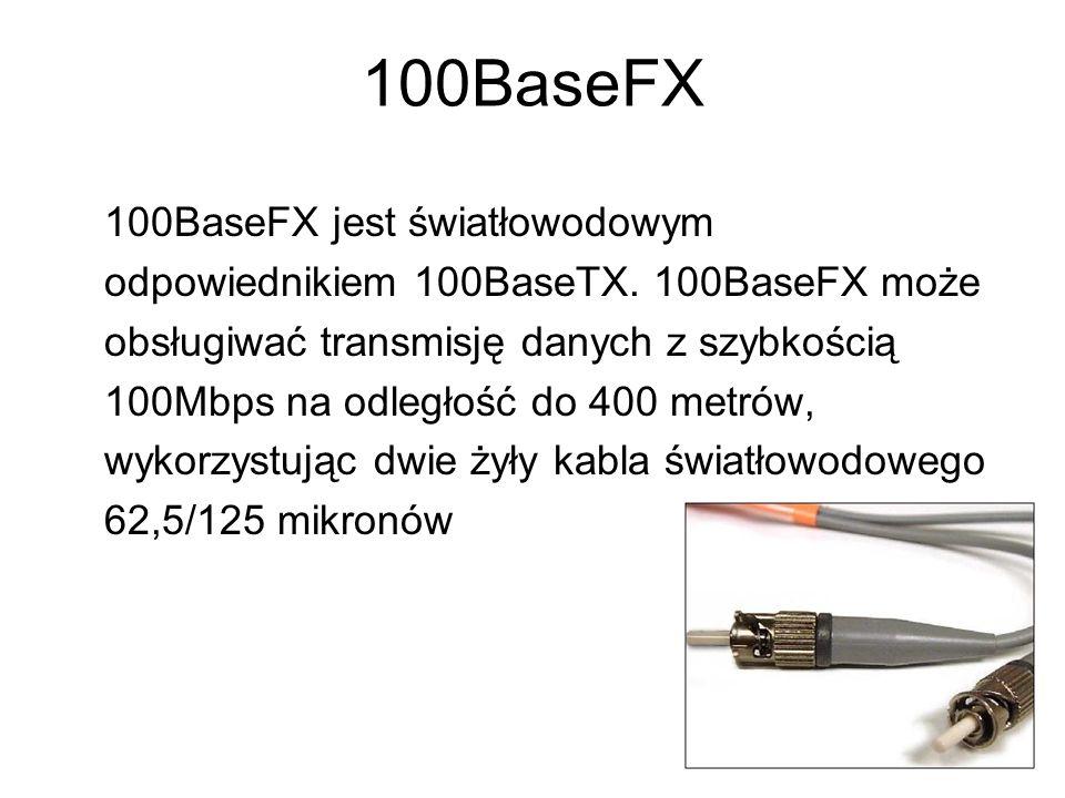100BaseT4 100BaseT4 umożliwia transmisję danych z szybkością 100Mbps przez cztery pary przewodów telefonicznych na odległość 100 metrów.