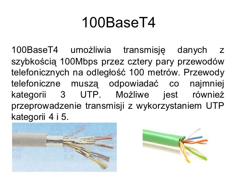 Specyfikacje dla Gigabit Ethernet 1000BaseSX 1000BaseLX 1000BaseCX 1000BaseT *(Niektóre rozwiązania w fazie projektów)*
