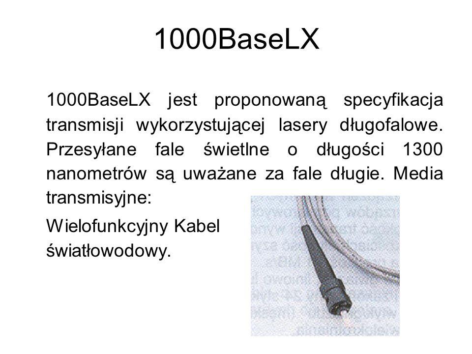 1000BaseCX 1000BaseCX wykorzystuje wysokiej jakości ekranowaną skrętkę dwużyłową lub kabel koncentryczny.