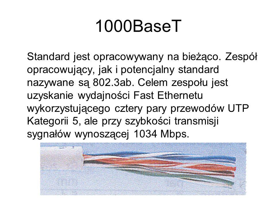 Rodzaj medium Maksymalna przepust owość MediumInformacjie dodatkowe Dopuszczalna odległość 10Base510Mbsgruby Ethernetśr.