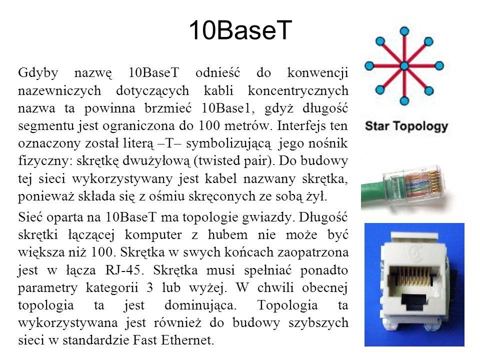 10Base FL Specyfikacja 10BaseFL umożliwia transmisję w paśmie podstawowym z prędkością 10 Mbps przez wielofunkcyjny kabel światłowodowy o średnicy 62,5/125 mikrona.