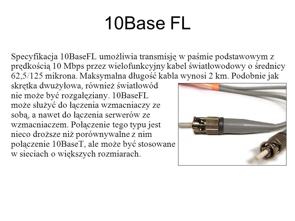 10BaseFOIRL 10BaseFOIRL jest najnowszym dodatkiem do specyfikacji 802.3.