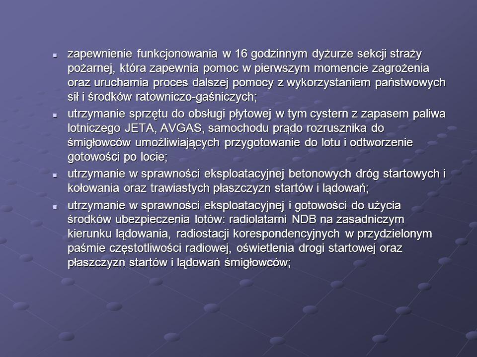 zapewnienie funkcjonowania łączności telefonicznej z organami kontroli ruchu lotniczego zapewniając planowanie, zamawianie i przekazywanie informacji o przelotach i ruchu lotniczym (są to: AFTN z adresem EPBCZPZM ; łączność telefoniczna we wszystkich możliwych do uzyskania liniach telefonicznych, stałe łącze telefoniczne z kontrolą zbliżania APP Warszawa, zabezpieczenie przekazu danych o sytuacji meteorologicznej na lotniskach cywilnych i wojskowych ( stałe łącze z Centrum Hydrometeorologii SZ RP, który obsługuje program meteorologiczny METEOWIN); zapewnienie funkcjonowania łączności telefonicznej z organami kontroli ruchu lotniczego zapewniając planowanie, zamawianie i przekazywanie informacji o przelotach i ruchu lotniczym (są to: AFTN z adresem EPBCZPZM ; łączność telefoniczna we wszystkich możliwych do uzyskania liniach telefonicznych, stałe łącze telefoniczne z kontrolą zbliżania APP Warszawa, zabezpieczenie przekazu danych o sytuacji meteorologicznej na lotniskach cywilnych i wojskowych ( stałe łącze z Centrum Hydrometeorologii SZ RP, który obsługuje program meteorologiczny METEOWIN); ochronę pola manewrowego, płaszczyzn startu i lądowań, drogi startowej oraz obiektów przeznaczonych do postoju i hangarowania śmigłowców i samolotów; ochronę pola manewrowego, płaszczyzn startu i lądowań, drogi startowej oraz obiektów przeznaczonych do postoju i hangarowania śmigłowców i samolotów; utrzymanie w sprawności eksploatacyjnej hangarów z możliwością hangarowania przylatujących statków powietrznych; utrzymanie w sprawności eksploatacyjnej hangarów z możliwością hangarowania przylatujących statków powietrznych; zachowanie w sprawności technicznej przyłączy energetycznych, wodnych i kanalizacyjnych.