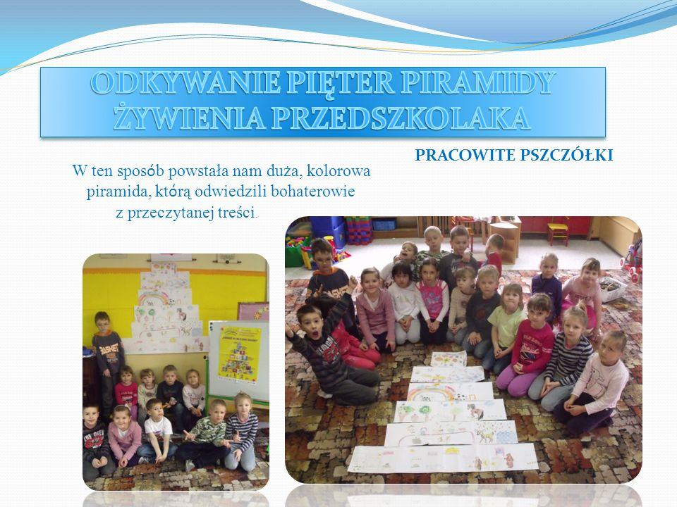 Dzieci z grupy Smerfów przypomniały sobie wygląd i budowę piramidy żywienia.