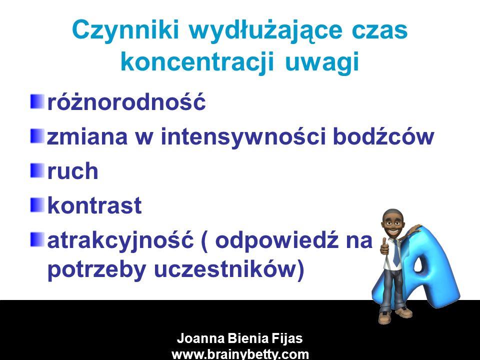 Joanna Bienia Fijas www.brainybetty.com Warunki, w których powtarzanie jest skuteczniejsze zrozumienie rozłożenie nauki w czasie uczenie się na głos utrwalanie zaufanie do własnych możliwości zasada całości reintegracja efekt von Restorffa