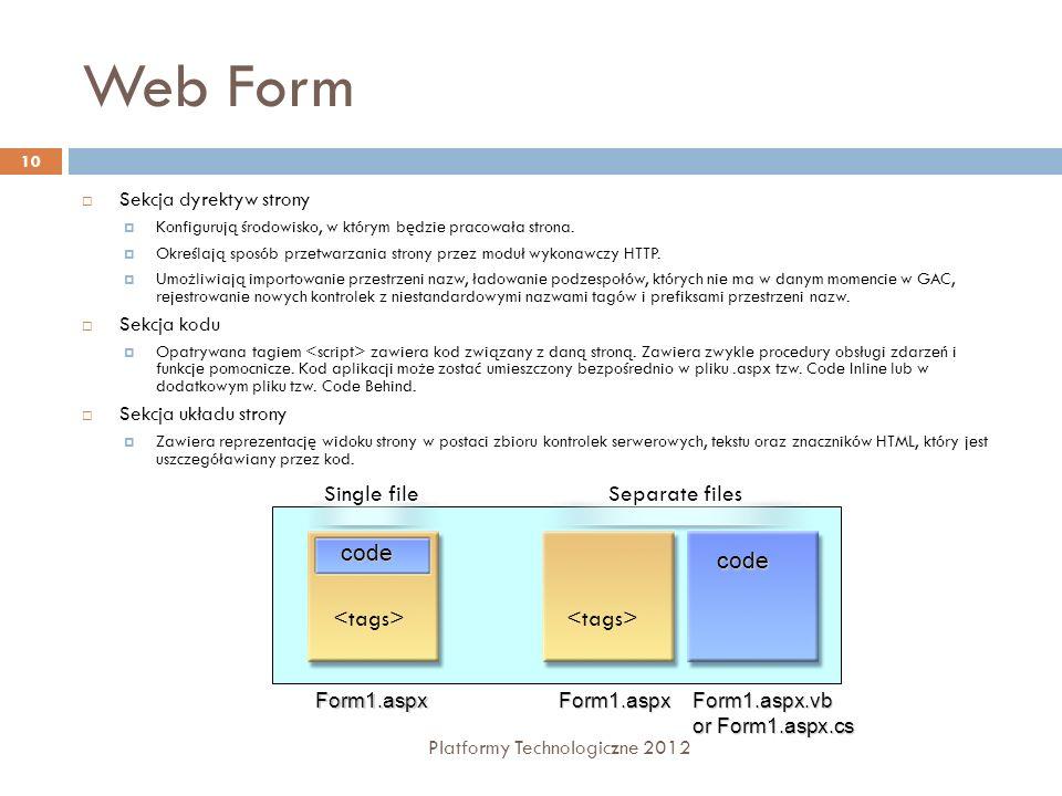 Web Form Platformy Technologiczne 2012 11 Formularz Web składa się z znaczników ASP.NET oraz logiki przetwarzania Rozdzielnie kodu obsługi strony od zawartości interfejsu użytkownika Kod inline - kod znaczników i kod aplikacji (C#, VB) współistnieją w pojedynczym pliku.aspx Kod ukryty - kod znaczników i kod aplikacji są w odrębnych plikach (.aspx,.aspx.cx, dll) Kod ukryty - klasy częściowe – plik z kodem ukrytym jest implementowany za pomocą klas częściowych Programiści i projektanci UI mogą pracować niezależnie
