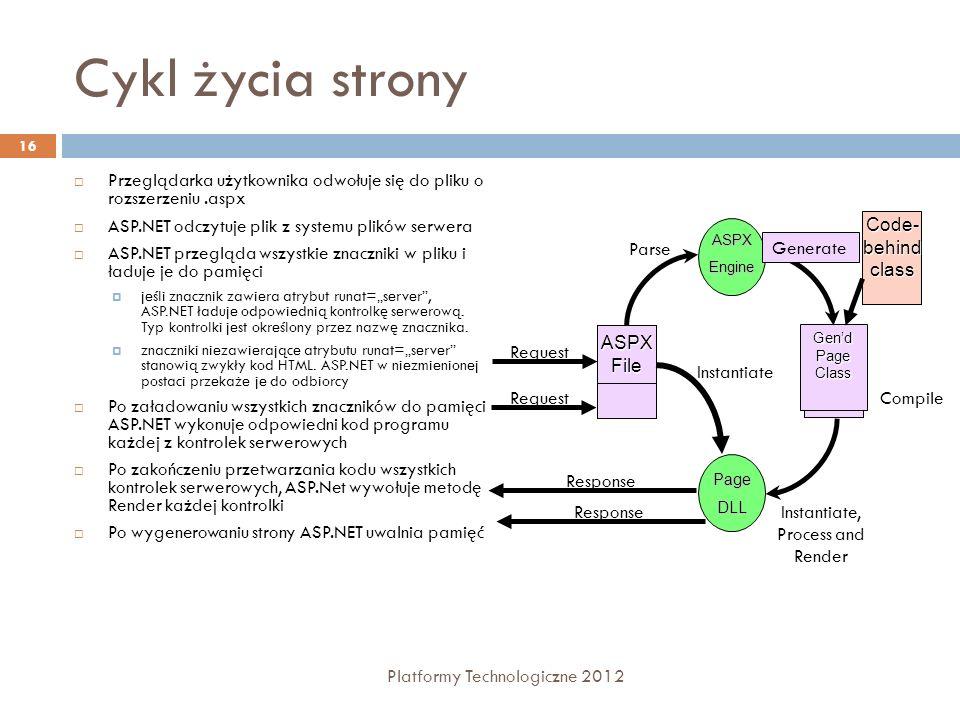 Dyrektywy strony Platformy Technologiczne 2012 17 Składnia: @Page - definiuje atrybuty strony wykorzystywane przez kompilator stron.