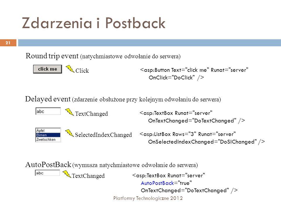 Cross – Page Postback Platformy Technologiczne 2012 22 Strony mogą wykonać post back do innych stron Wykorzystywane właściwości: control.PostBackUrl – adres docelowy żądania zwrotnego Page.PreviousPage – zwraca referencję do strony, która generowała żądanie zwrotne PreviousPage.IsCrossPagePostBack – informacja, czy wystąpiło żądanie zwrotne z innej strony
