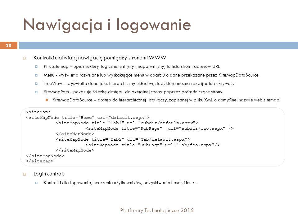Przesyłanie informacji między stronami Platformy Technologiczne 2012 29 Metoda GET lub POST Przesyłanie informacji Response.Redirect( Info.aspx?imie= + imieTextBox.Text + &nazwisko= + nazwiskoTextBox); Pobieranie informacji przesłanych Request.Params[ imie ] Mechanizm Cross-Page Postback