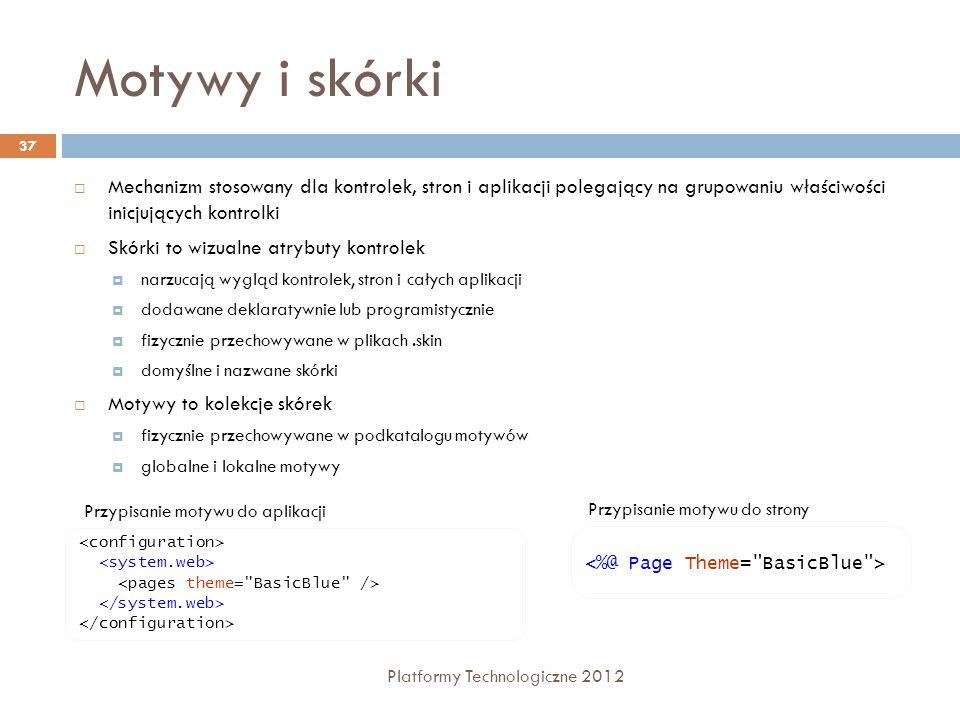 Lokalizacja Platformy Technologiczne 2012 38 ASP.NET wspiera budowę serwisów wielojęzycznych poprzez mechanizm zasobów (resources) 2 typy zasobów: /App_LocalResources – dotyczące pojedynczej strony /App_GlobalResources – dotyczące całości serwisu Prosta struktura: klucz=wartość Typy zasobów: Ciągi tekstowe Grafika (obrazy i ikony) Pliki tekstowe Wykorzystanie zasobów: <asp:Label runat=server Text= /> Mechanizm lokalizacji domyślnie wykorzystuje ustawienia językowe przeglądarki