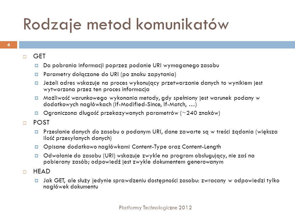 Rodzaje metod komunikatów Platformy Technologiczne 2012 5 PUT Wymusza zapisanie zawartości żądania pod wskazanym adresem URI OPTIONS Żądanie przesłania informacji o opcjach związanych z wyspecyfikowanym zasobem.