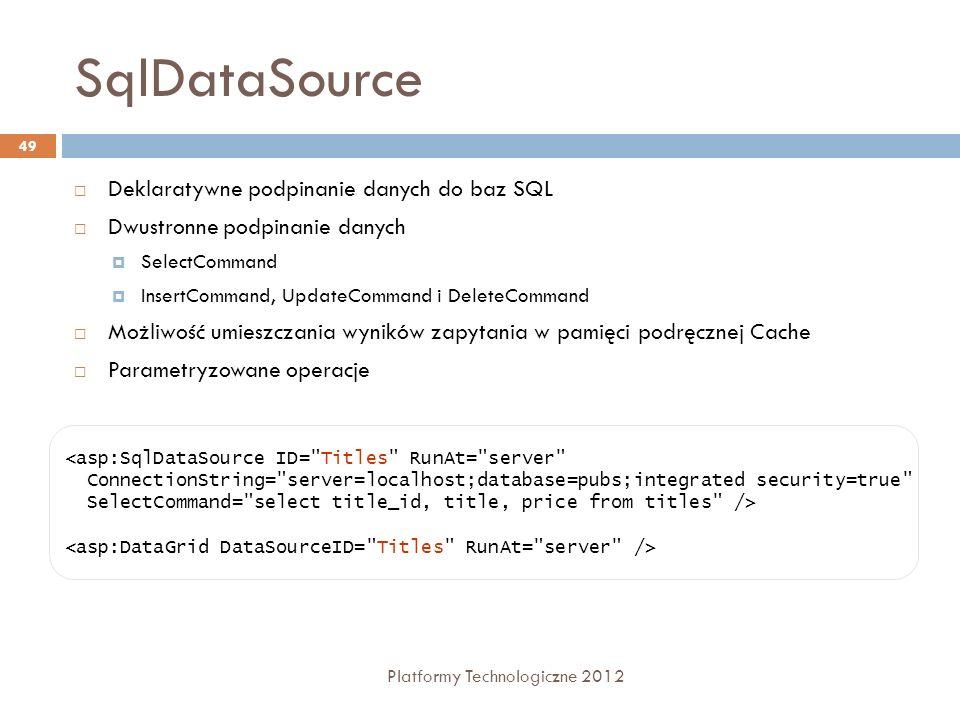SqlDataSource Platformy Technologiczne 2012 50 Najważniejsze właściwości: ConnectionString – ciąg znaków połączenia umożliwiający dostęp do bazy danych, SelectCommand, InsertCommand, UpdateCommand, DeleteCommand – ciąg znaków, które zawierają polecenie SQL lub nazwa składowanej procedury DataSourceMode – tryb pobierania danych przez polecenie Select (DataSet lub DataReader) ProviderName – dostawca danych np.