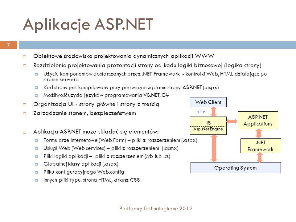 Pliki konfiguracyjne i katalogi Platformy Technologiczne 2012 8 Pliki konfiguracyjne Machine.config - ustawienia dotyczą wszystkich aplikacji na komputerze lokalnym Web.config - ustawienia dotyczą tylko wybranej aplikacji Katalogi aplikacji Bin - zawiera wszystkie prekompilowane podzespoły (assemblies) wykorzystywane w aplikacji App_Browsers - zawiera tzw.