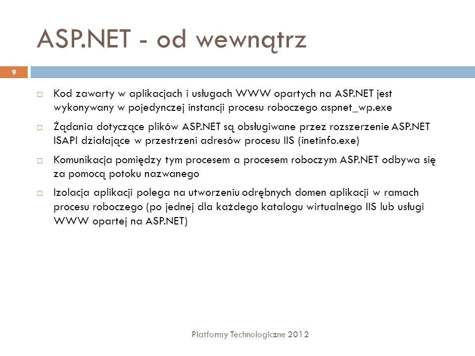 Web Form Platformy Technologiczne 2012 10 Sekcja dyrektyw strony Konfigurują środowisko, w którym będzie pracowała strona.