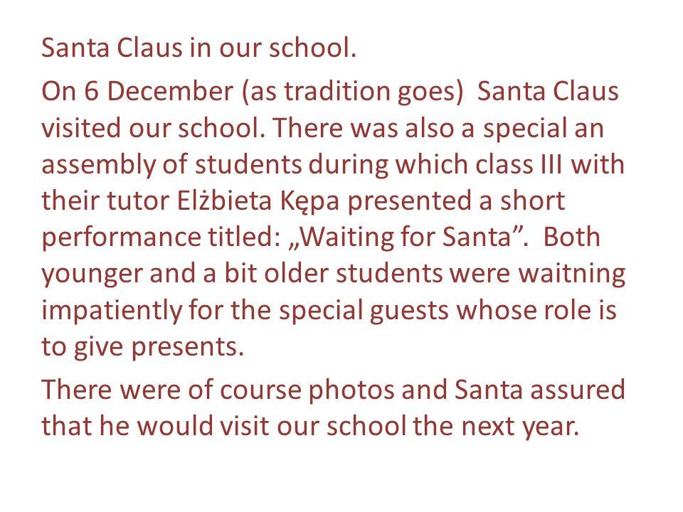Dnia 20 grudnia 2012 r.w naszej szkole miał miejsce świąteczny apel przygotowany przez uczniów kl.