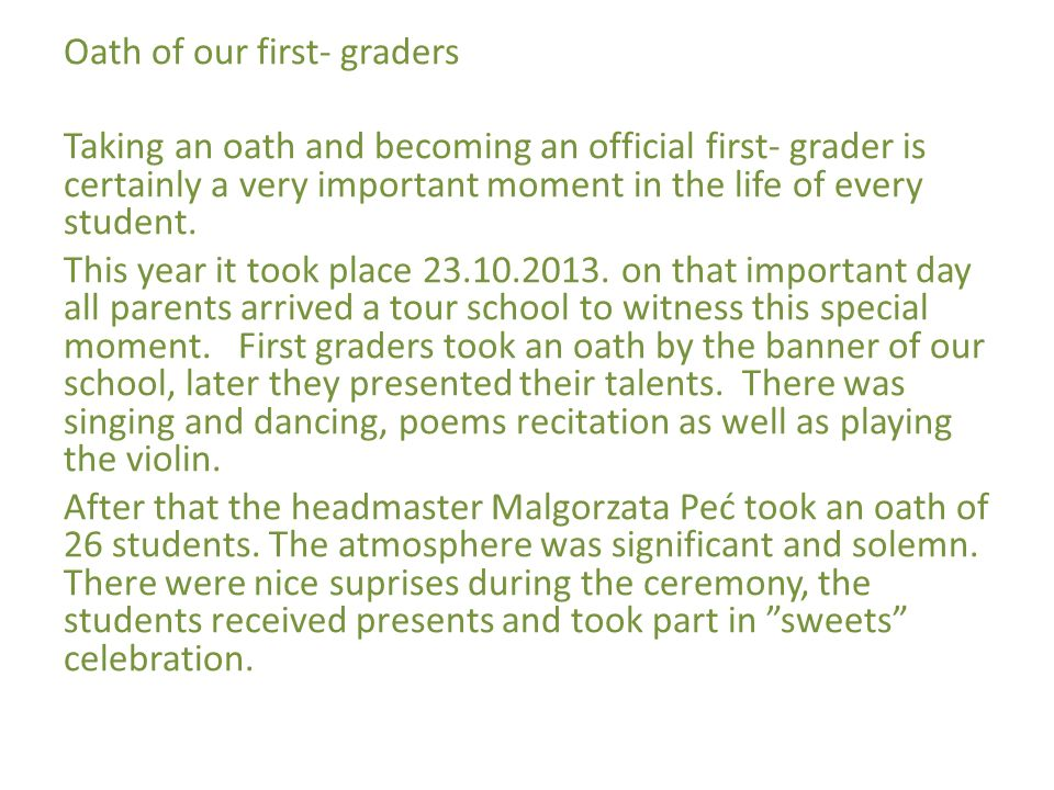 Dnia 12.11 2012 odbył się uroczysty apel z okazji Święta Niepodległości przygotowany przez klasę VIA z wychowawcą.