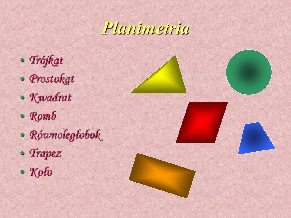 Planimetria Trójkąt Trójkąt Prostokąt Prostokąt Kwadrat Kwadrat Romb Romb Równoległobok Równoległobok Trapez Trapez Koło Koło
