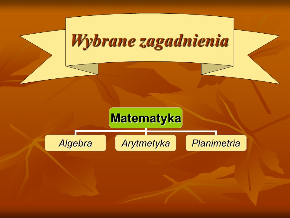 Matematyka AlgebraArytmetykaPlanimetria Wybrane zagadnienia Wybrane zagadnienia