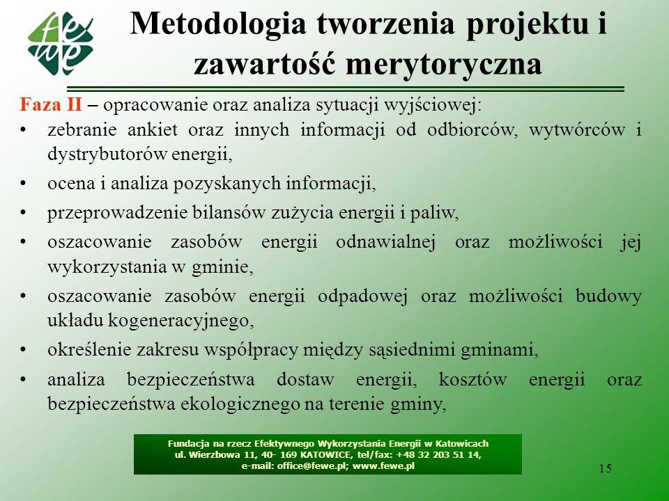 16 Metodologia tworzenia projektu i zawartość merytoryczna Fundacja na rzecz Efektywnego Wykorzystania Energii w Katowicach ul.