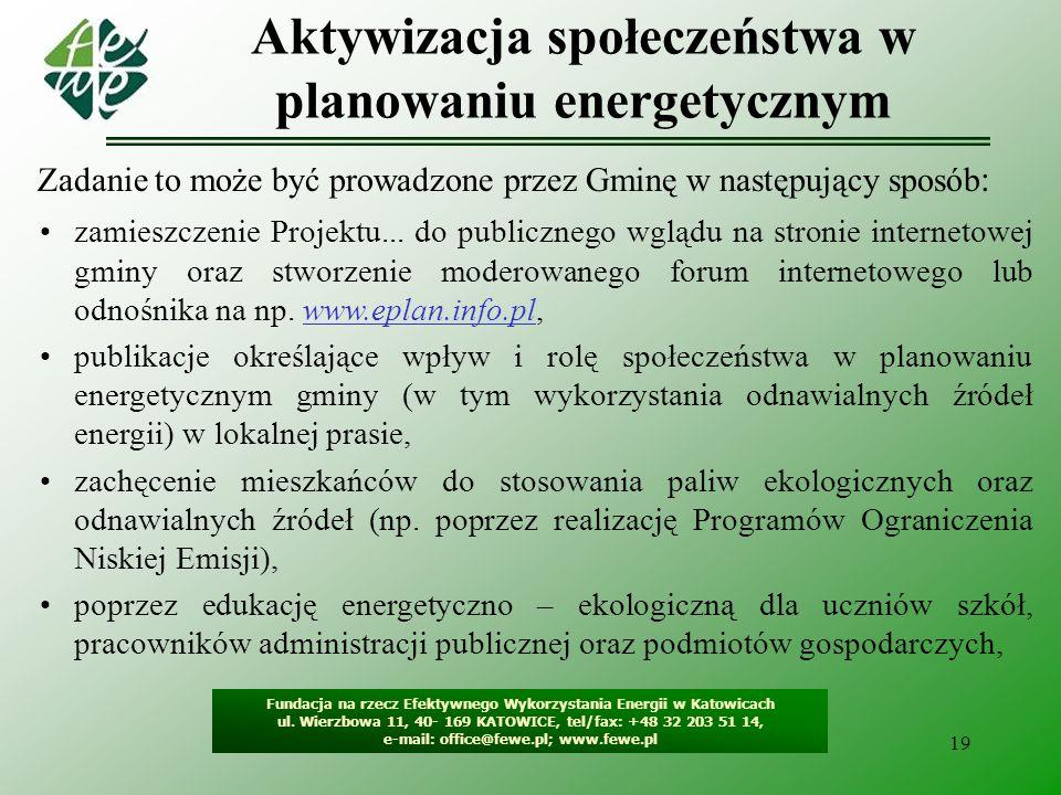 20 Czego wymagać od Projektów założeń … Fundacja na rzecz Efektywnego Wykorzystania Energii w Katowicach ul.