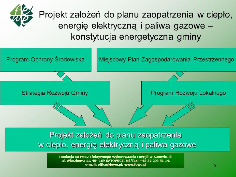7 Projekt założeń do planu zaopatrzenia w ciepło, energię elektryczną i paliwa gazowe – konstytucja energetyczna gminy Projekt założeń do planu zaopatrzenia w ciepło, energię elektryczną i paliwa gazowe Założenia do planu Plan zaopatrzenia w ciepło, energię elektryczną i paliwa gazowe Gmina Samorząd Województwa Przedsiębiorstwa Energetyczne Osoby i jednostki zainteresowane projektem Rada Gminy Projekt planu Gmina