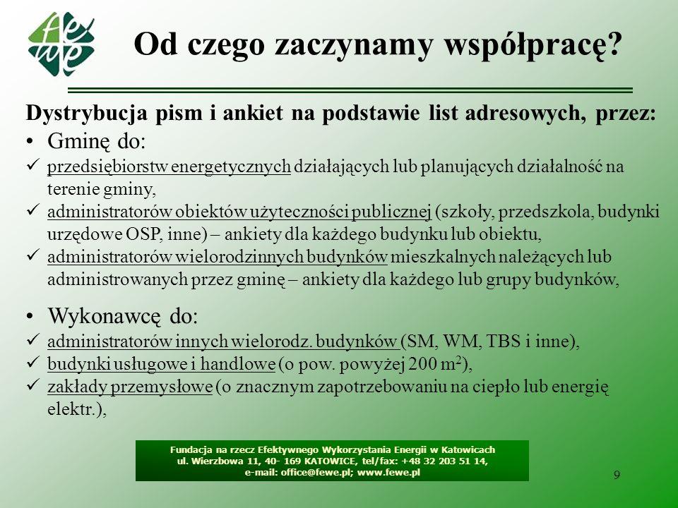 10 Pozostałe dane do uzupełnienia Fundacja na rzecz Efektywnego Wykorzystania Energii w Katowicach ul.