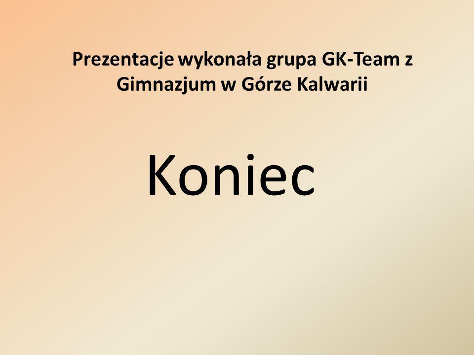 Koniec Prezentacje wykonała grupa GK-Team z Gimnazjum w Górze Kalwarii