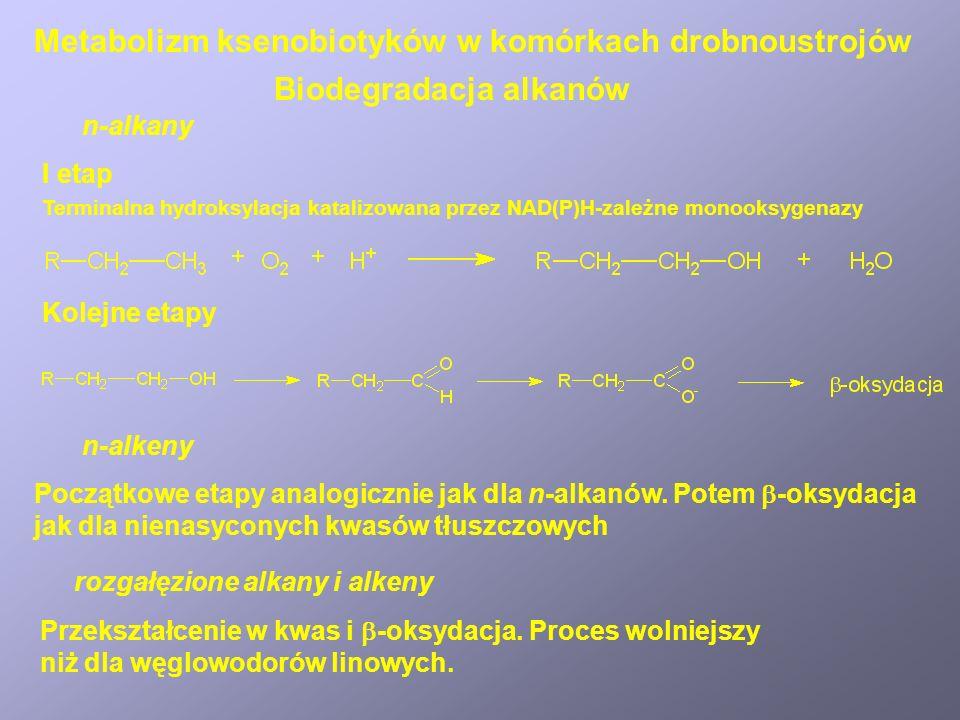 Schemat biodegradacji cyklopentanu Biodegradacja cykloalkanów Metabolizm ksenobiotyków w komórkach drobnoustrojów